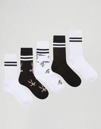 Набор из 5 пар спортивных носков ASOS Looney Tunes - Белый