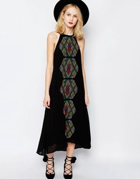 Платье макси с вышивкой Piper Bima - Черный