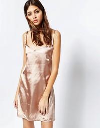 Золотисто-розовое платье-сорочка See You Never - Розовое золото