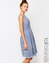 Короткое приталенное платье из шамбре с ажурной отделкой Vero Moda Tal