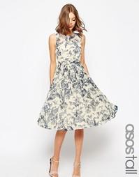 Платье миди с присборенной вставкой и принтом ASOS TALL WEDDING