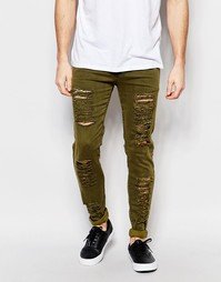 Рваные зауженные джинсы Other UK - Зеленый