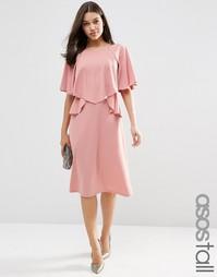 Пышное платье миди с рюшами ASOS TALL - Mauve