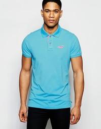 Узкая футболка-поло с контрастной планкой на пуговицах Hollister
