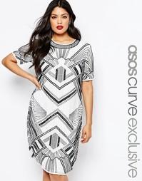 Платье-футляр миди с отделкой ASOS CURVE - Белый