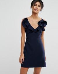 Структурированное платье‑трапеция мини с оборкой ASOS - Темно-синий