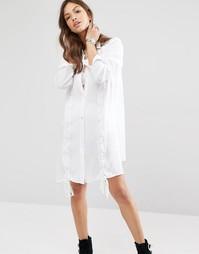 Платье-рубашка с шнуровкой Boohoo - Белый