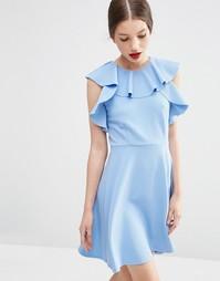 Короткое приталенное платье с оборками у горловины ASOS - Синий