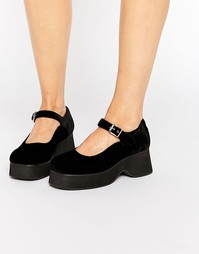 Черные бархатные туфли с ремешками UNIF The Spoilers - Черный
