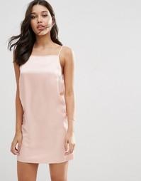 Матовое атласное платье-сорочка ASOS - Blush