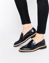Темно-синие кожаные туфли на плоской подошве Selected Femme Mira