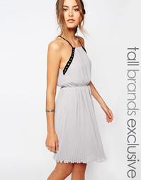 Шифоновое платье на бретельках с люверсами True Decadence Tall - Серый