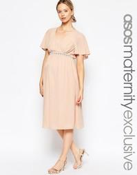 Платье миди для беременных ASOS Maternity - Blush