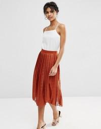 Плиссированная кружевная юбка миди ASOS - Красно-бурый