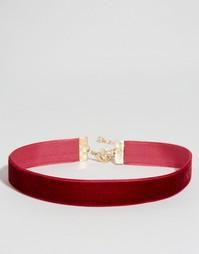 Короткое бархатное ожерелье ASOS - Burgundy