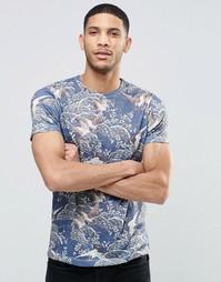 Темно-синяя футболка в льняном стиле с принтом птиц и цветов ASOS