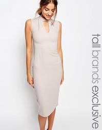 Платье-футляр без рукавов с высоким воротом и вырезом капелькой Alter