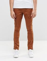 Коричневые суперзауженные брюки-карго с молниями ASOS - Dachshund