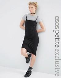 Платье-футболка миди на бретельках ASOS PETITE - Черный