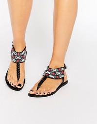 Черные кожаные сандалии с отделкой бисером Pieces Carol - Черный