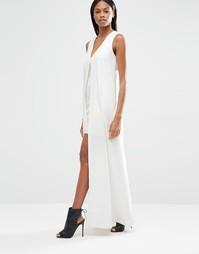 Платье мини с шифоновым верхним слоем Lavish Alice - Белый
