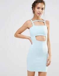 Облегающее платье с вырезом Boohoo - Бледно-синий