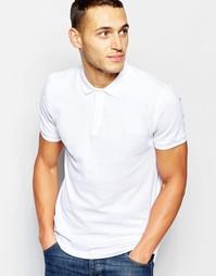 Футболка-поло с вышитым логотипом на груди DKNY - Белый