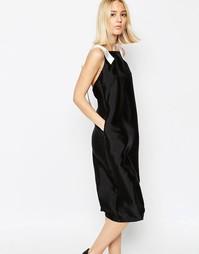 Платье миди из нетканого атласа с D‑образной пряжкой ASOS WHITE