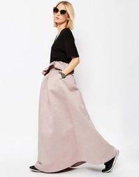 Фактурная атласная юбка с рюшами ASOS WHITE - Светло-розовый