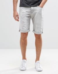 Рваные джинсовые шорты с 5 карманами Threadbare - Серый