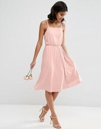 Платье миди из крепа с перекрестом сзади ASOS WEDDING - Розовый