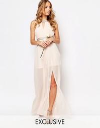 Плиссированное платье макси TFNC WEDDING - Телесный