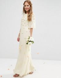Платье мини с рукавами-бабочка и накладными цветами ASOS BRIDAL