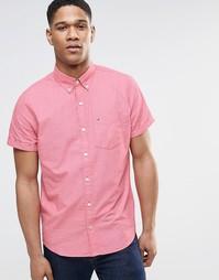 Красная поплиновая рубашка слим с короткими рукавами Hollister