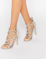 Босоножки на каблуке с решетчатой отделкой цвета серебристый металлик Dune