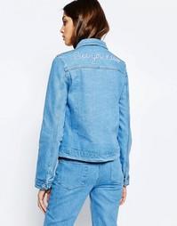 Джинсовая куртка с вышивкой сзади See You Never - Синий