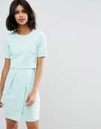 Фактурное двухслойное платье мини ASOS - Мятный