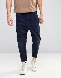 Синие укороченные джинсы слим с карманами-карго ASOS - Indigo - индиго