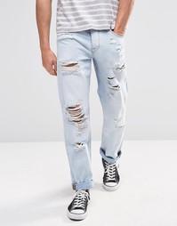 Рваные прямые джинсы ASOS - Выбеленный синий