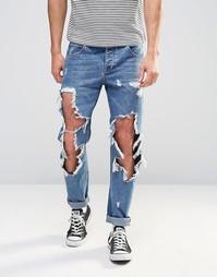 Синие рваные джинсы слим ASOS - Умеренный синий