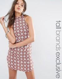 Облегающее платье с высокой горловиной и принтом Glamorous Tall