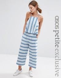 Льняные брюки в полоску с широкими штанинами ASOS PETITE Co-ord