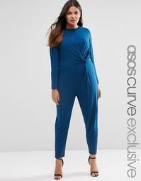 Комбинезон с широкими штанинами со складками ASOS CURVE - Темно-синий