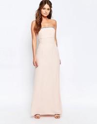 Платье-бандо макси с отделкой Elise Ryan - Розовый