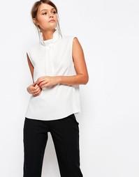 Блузка с высоким воротом и декоративной вставкой Closet - Кремовый