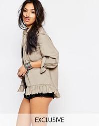 Oversize-куртка с оборками в винтажном стиле Milk It - Серый