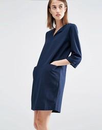 Платье свободного кроя с карманами Selected - Темный сапфир