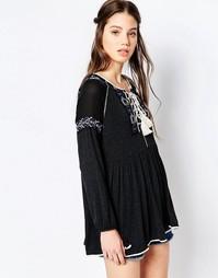 Блузка в богемном стиле с вышивкой Hazel - Черный