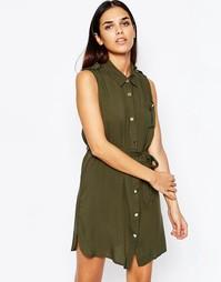 Платье-рубашка без рукавов Club L - Хаки