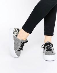 Кроссовки на платформе со шнуровкой ASOS DION - Леопардовый микс